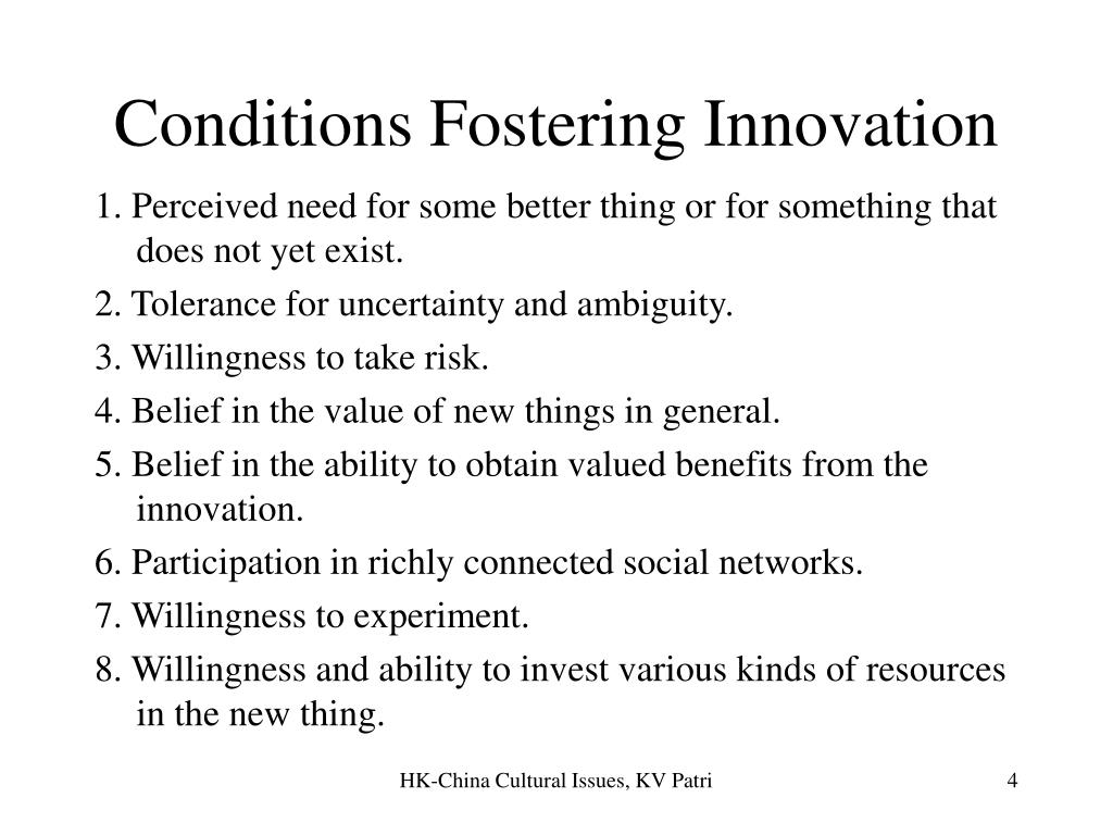 Conditions Fostering Innovation