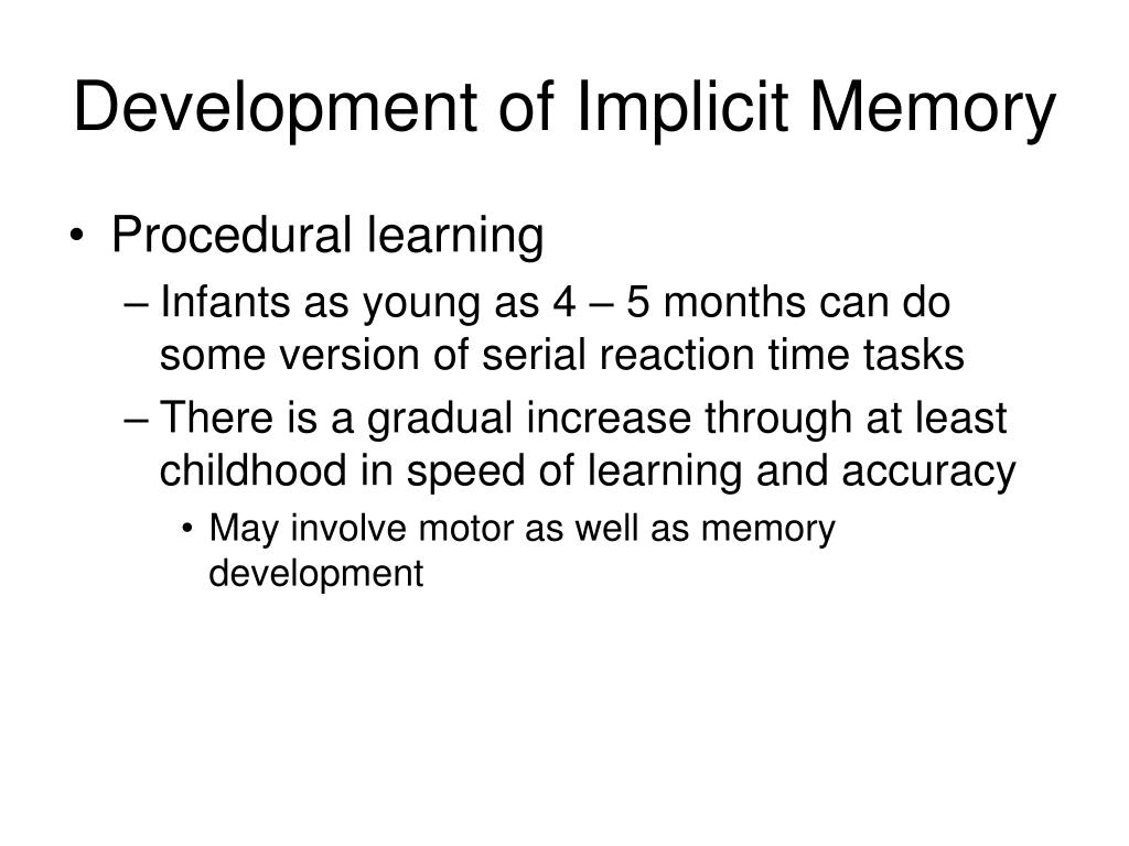 Development of Implicit Memory