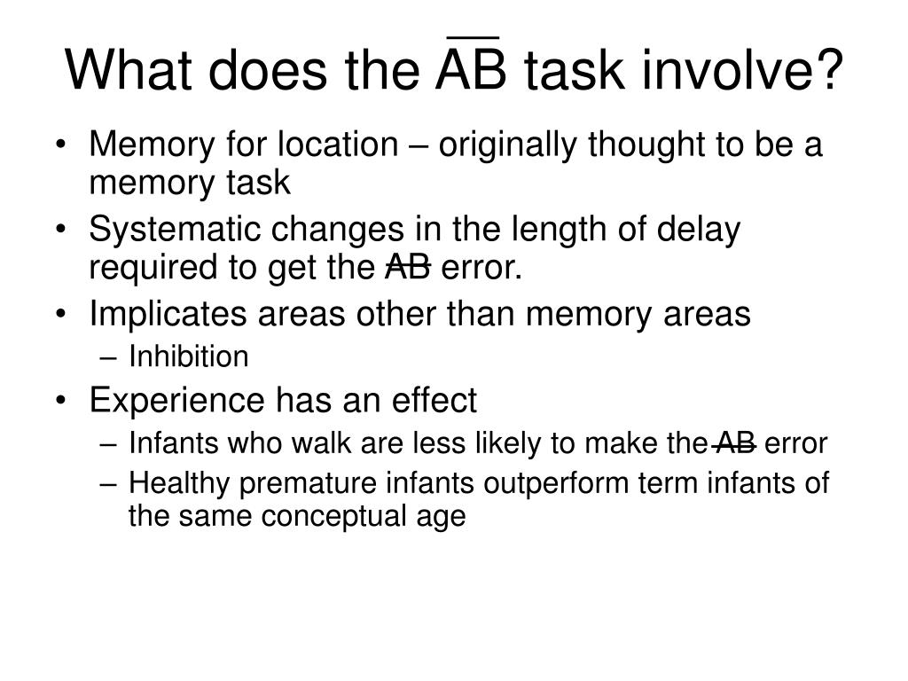 What does the AB task involve?