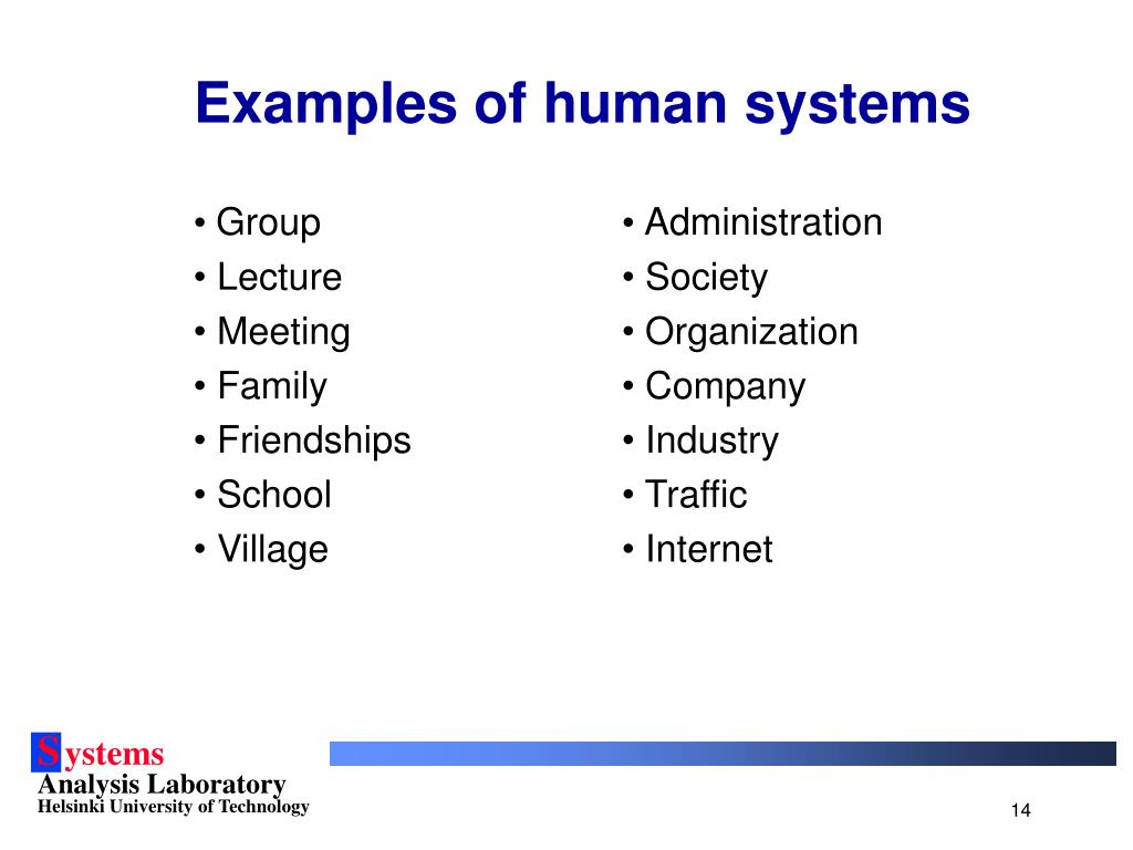 Examples of human systems
