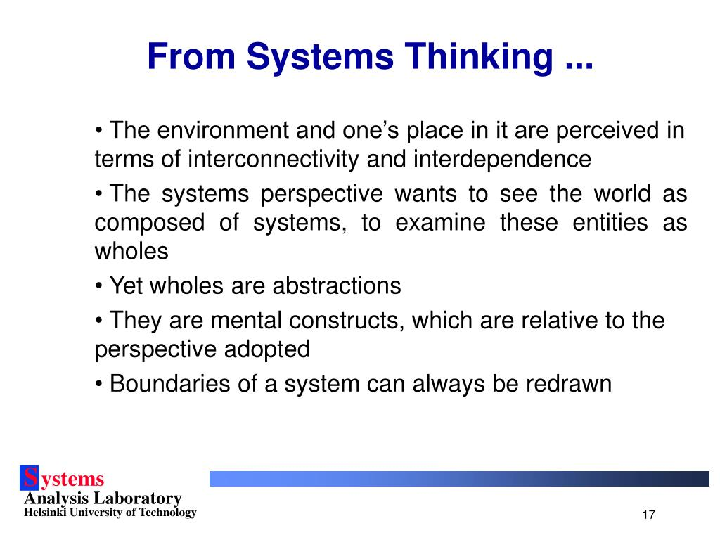 From Systems Thinking ...