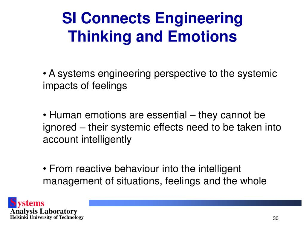 SI Connects Engineering Thinking and Emotions