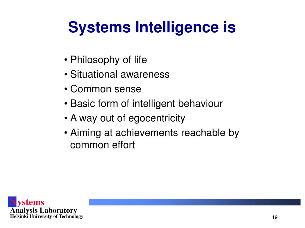 Systems Intelligence is