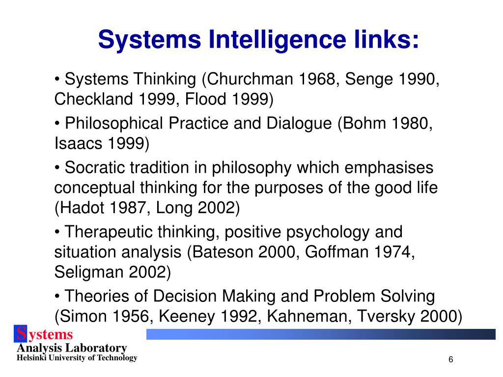 Systems Intelligence links: