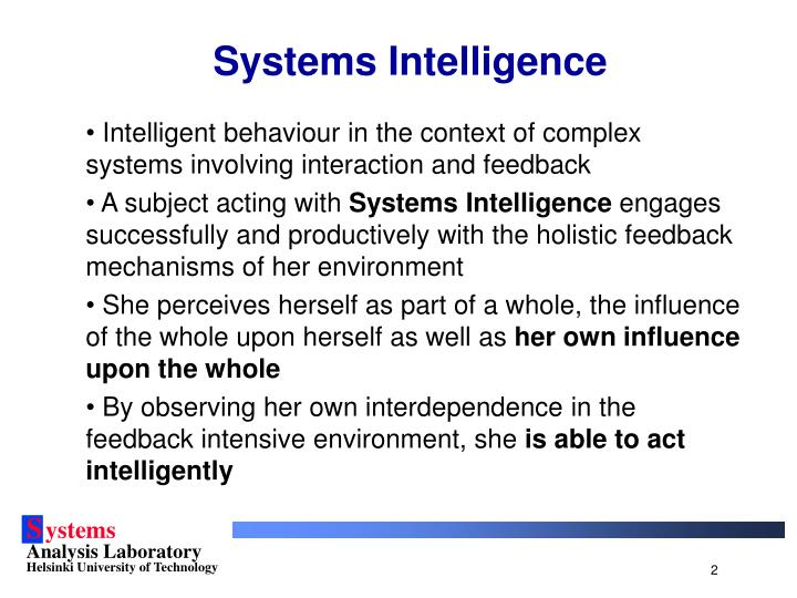 Systems intelligence