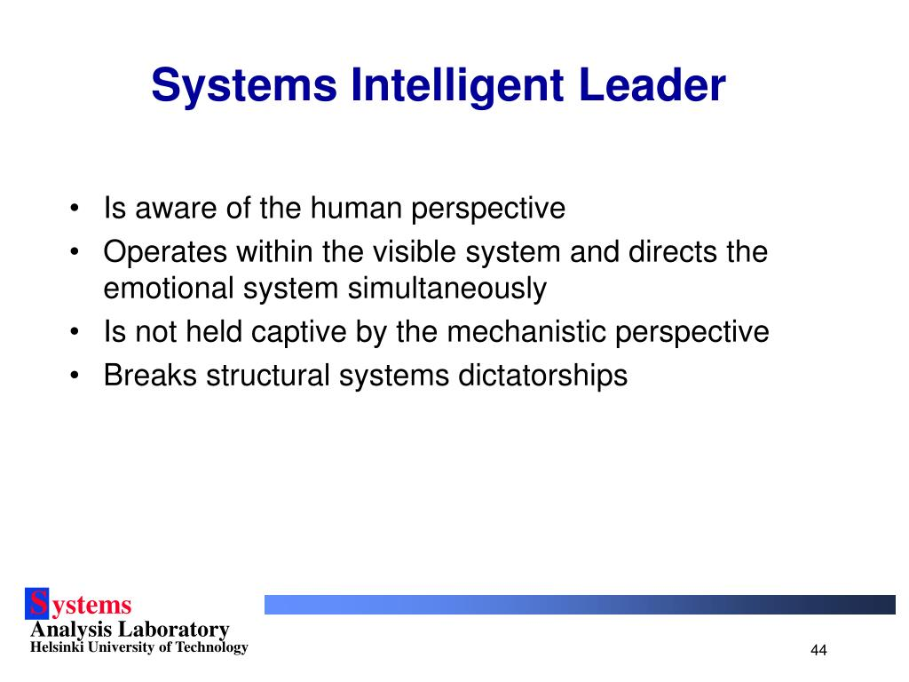 Systems Intelligent Leader