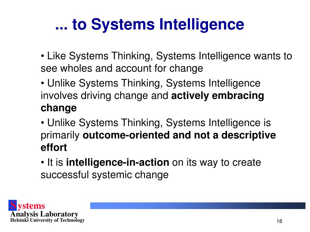 ... to Systems Intelligence