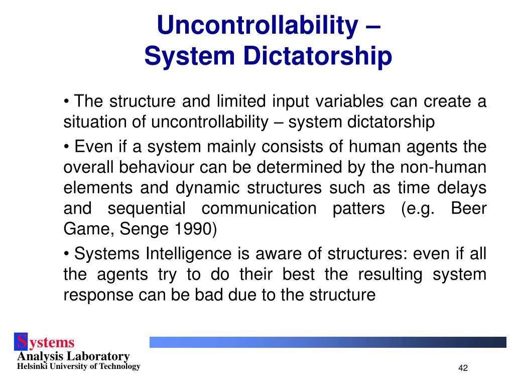 Uncontrollability –