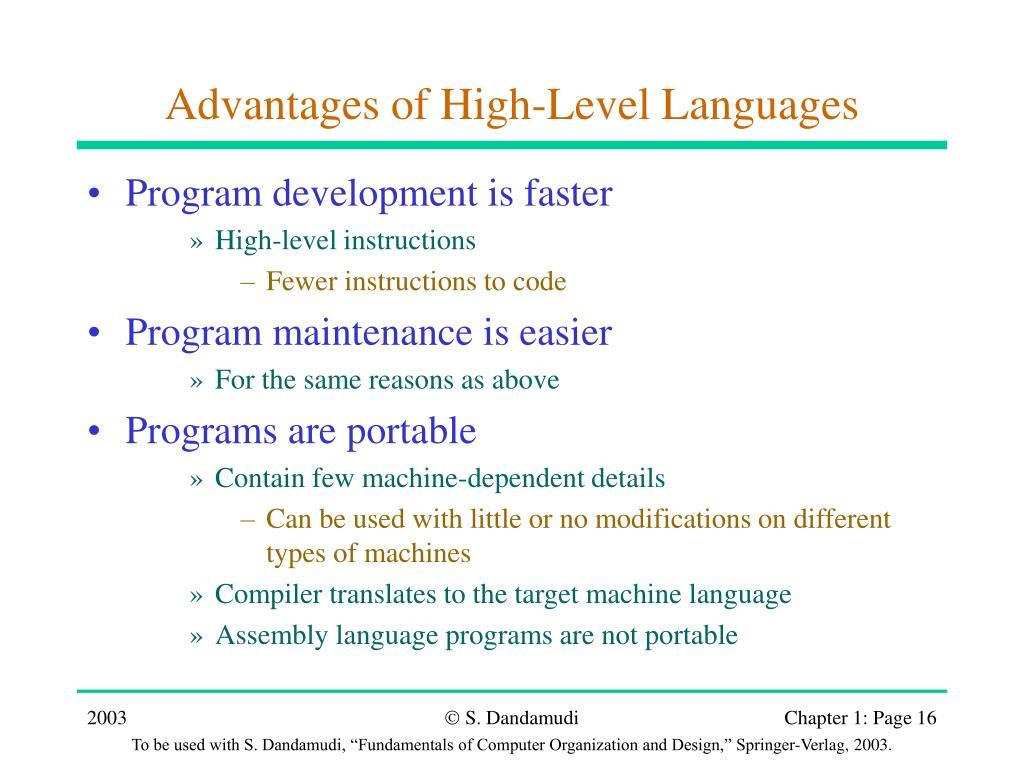 Advantages of High-Level Languages