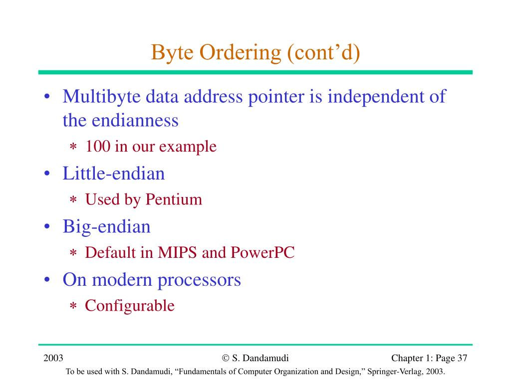 Byte Ordering (cont'd)
