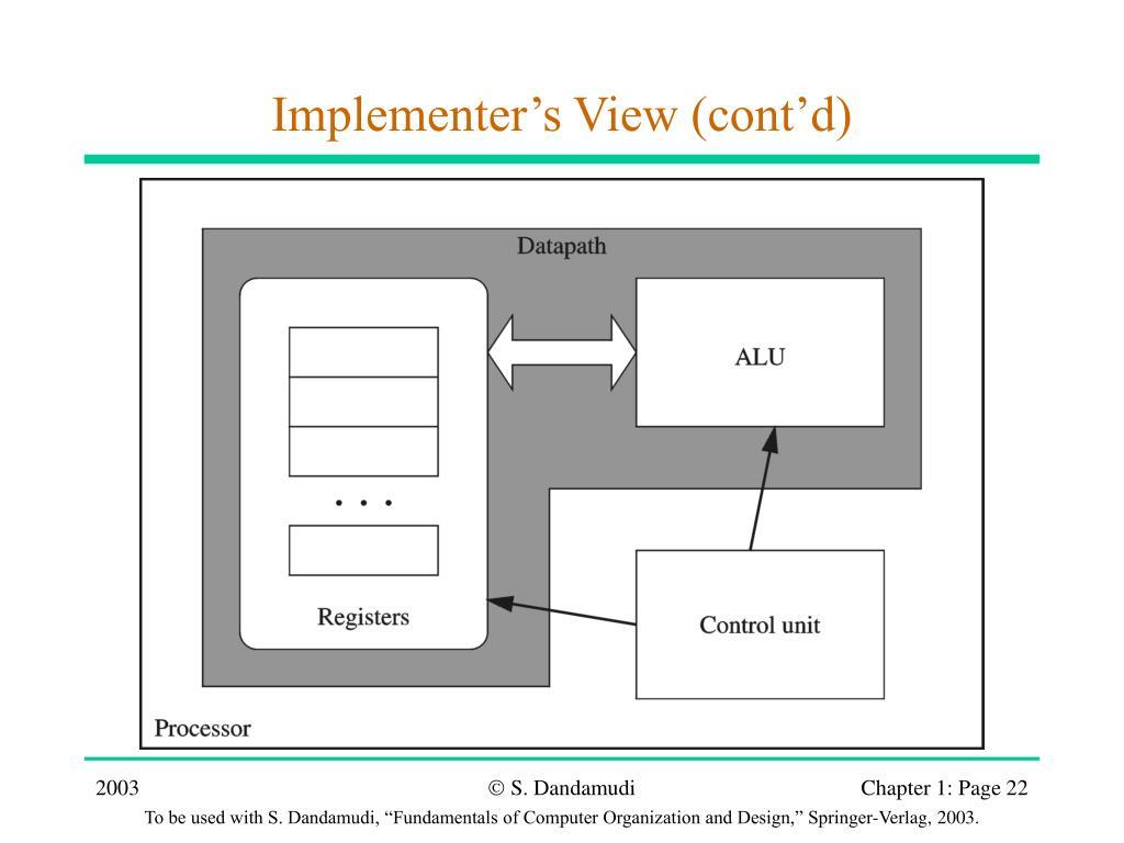 Implementer's View (cont'd)