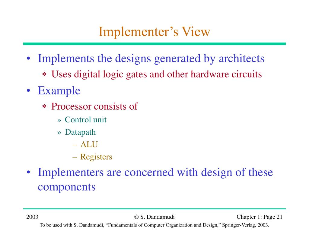 Implementer's View
