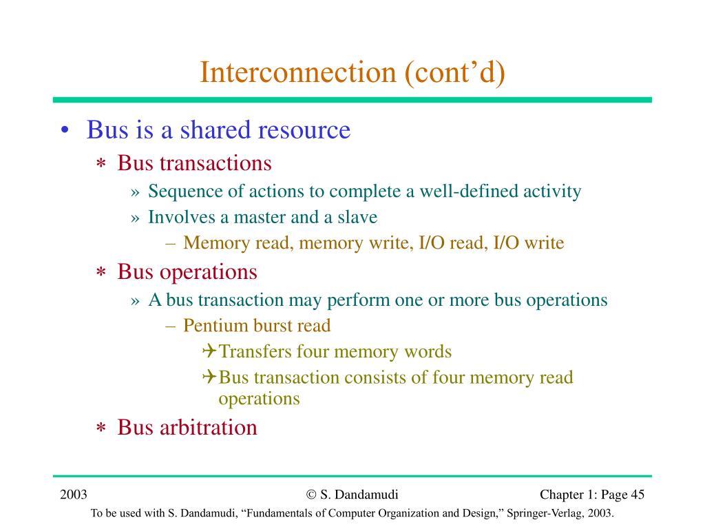 Interconnection (cont'd)