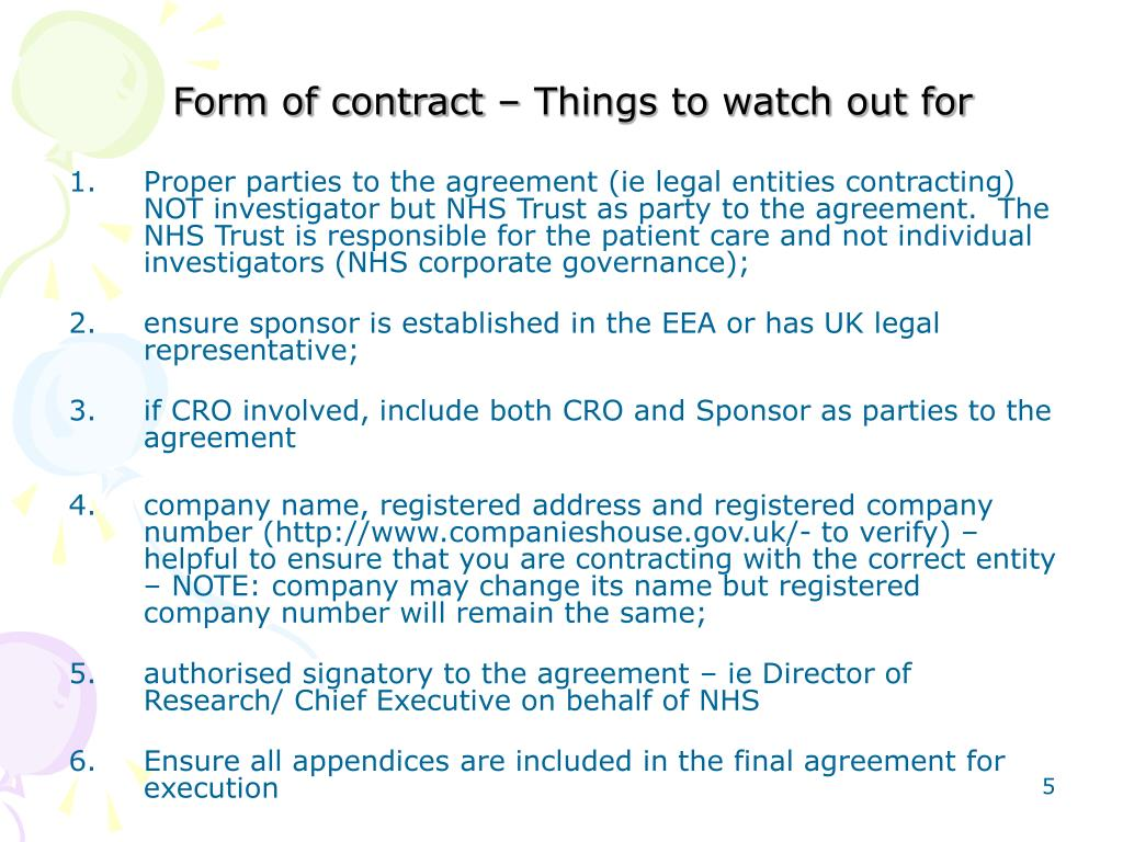 Form of contract – Things to watch out for