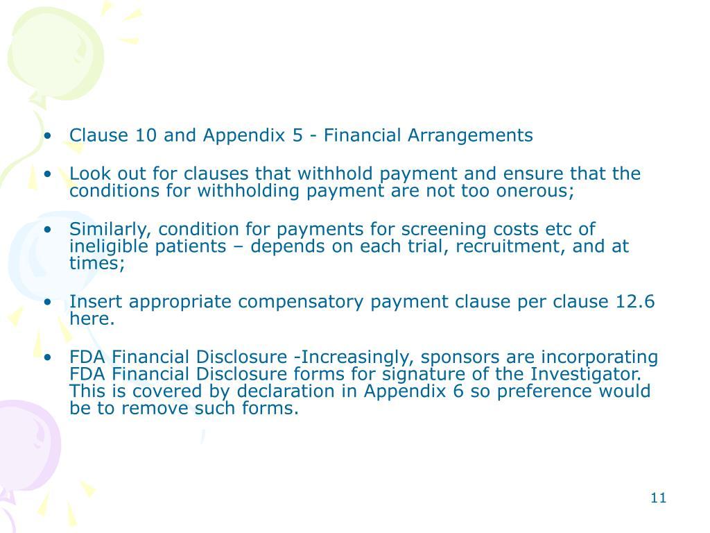 Clause 10 and Appendix 5 - Financial Arrangements