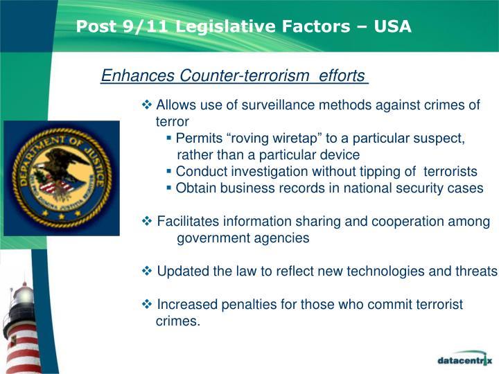 Post 9/11 Legislative Factors – USA