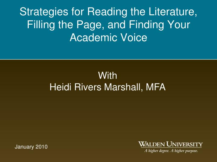 strategies for reading the literature filling the page and finding your academic voice n.