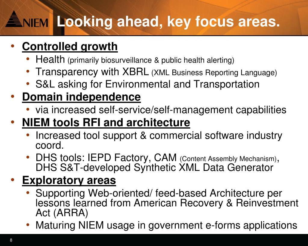 Looking ahead, key focus areas.