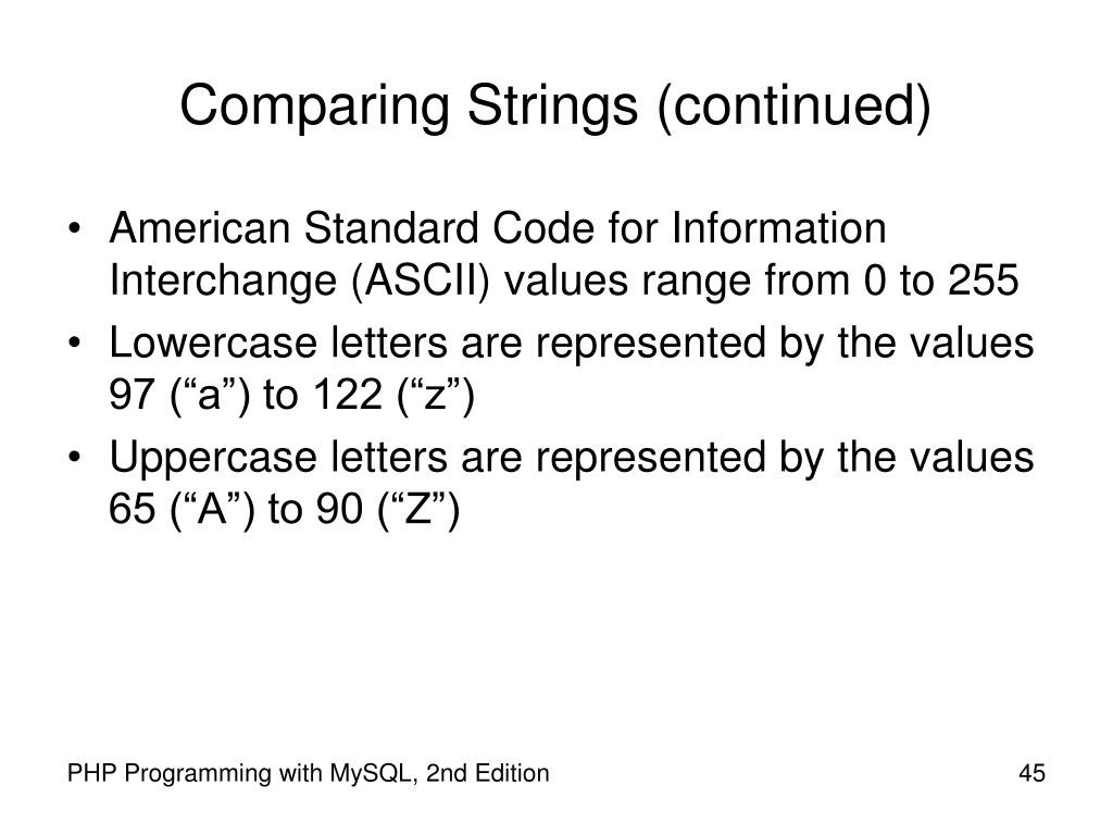 Comparing Strings (continued)