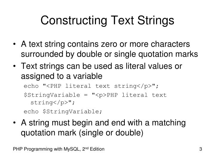 Constructing text strings
