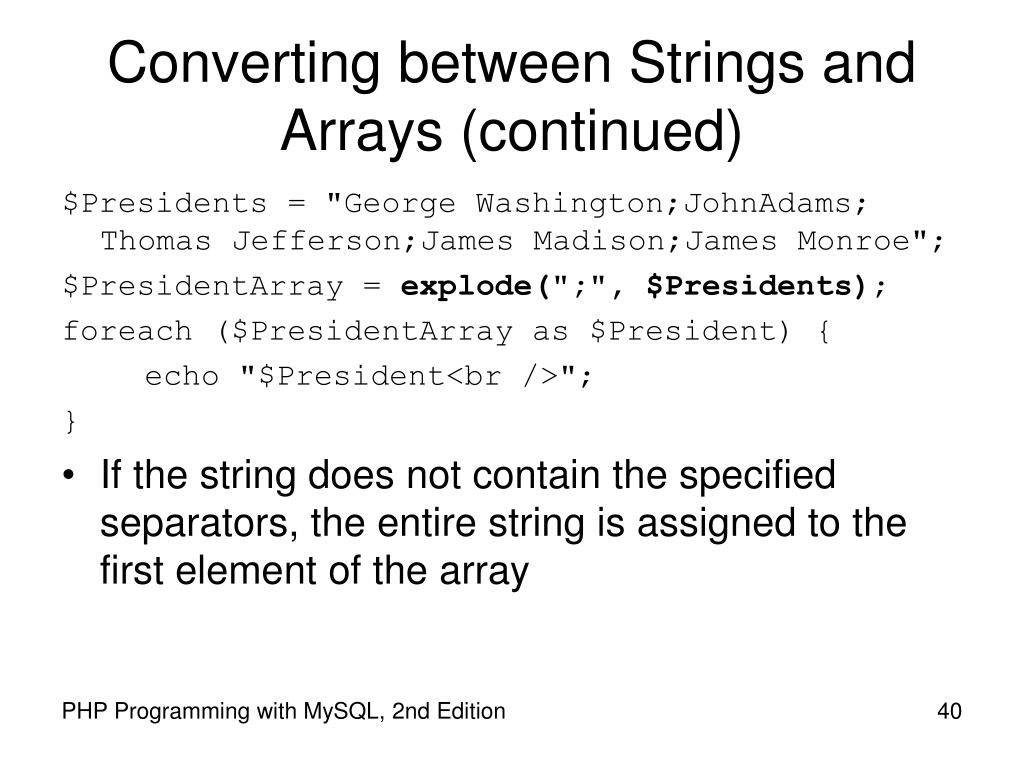 Converting between Strings and Arrays (continued)