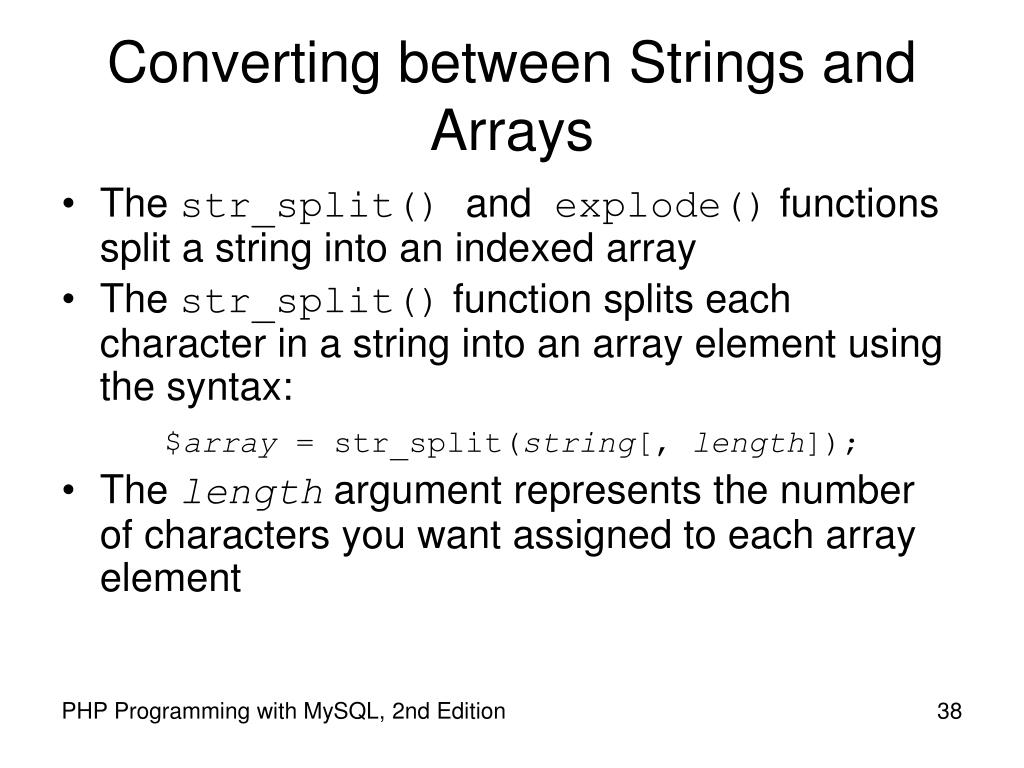 Converting between Strings and Arrays