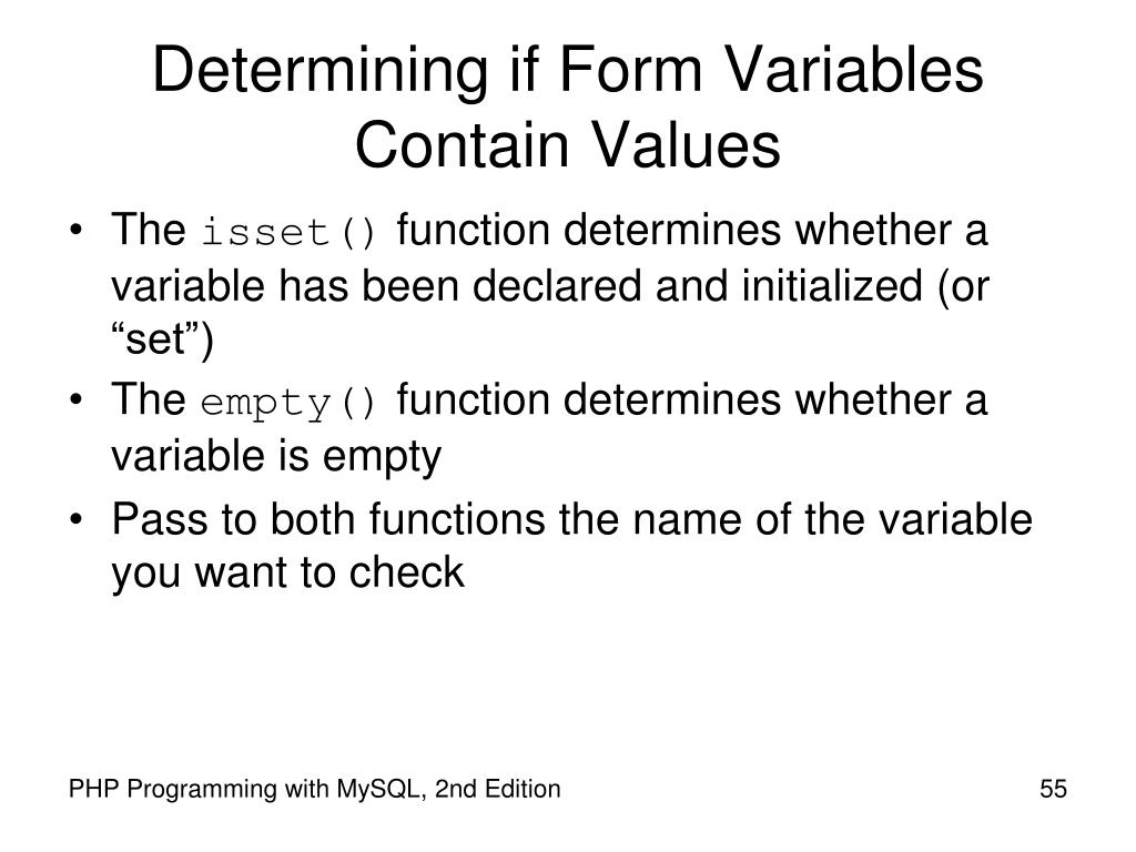 Determining if Form Variables Contain Values