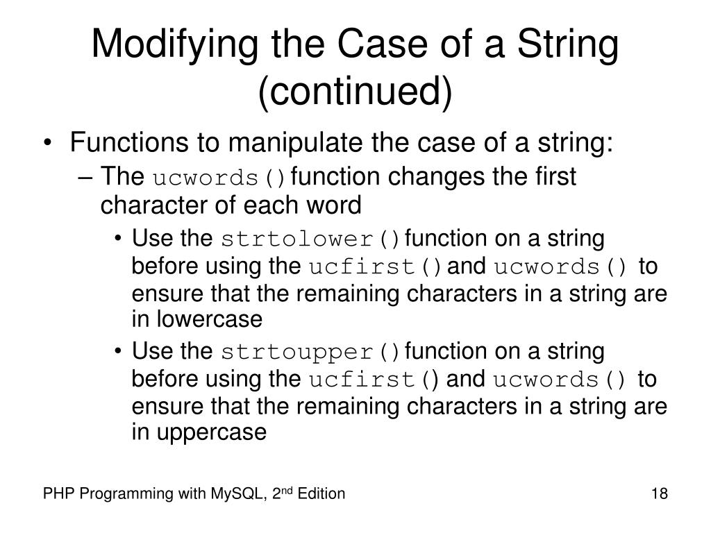Modifying the Case of a String