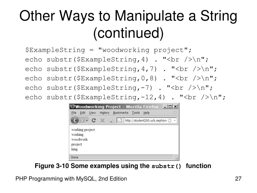 Other Ways to Manipulate a String