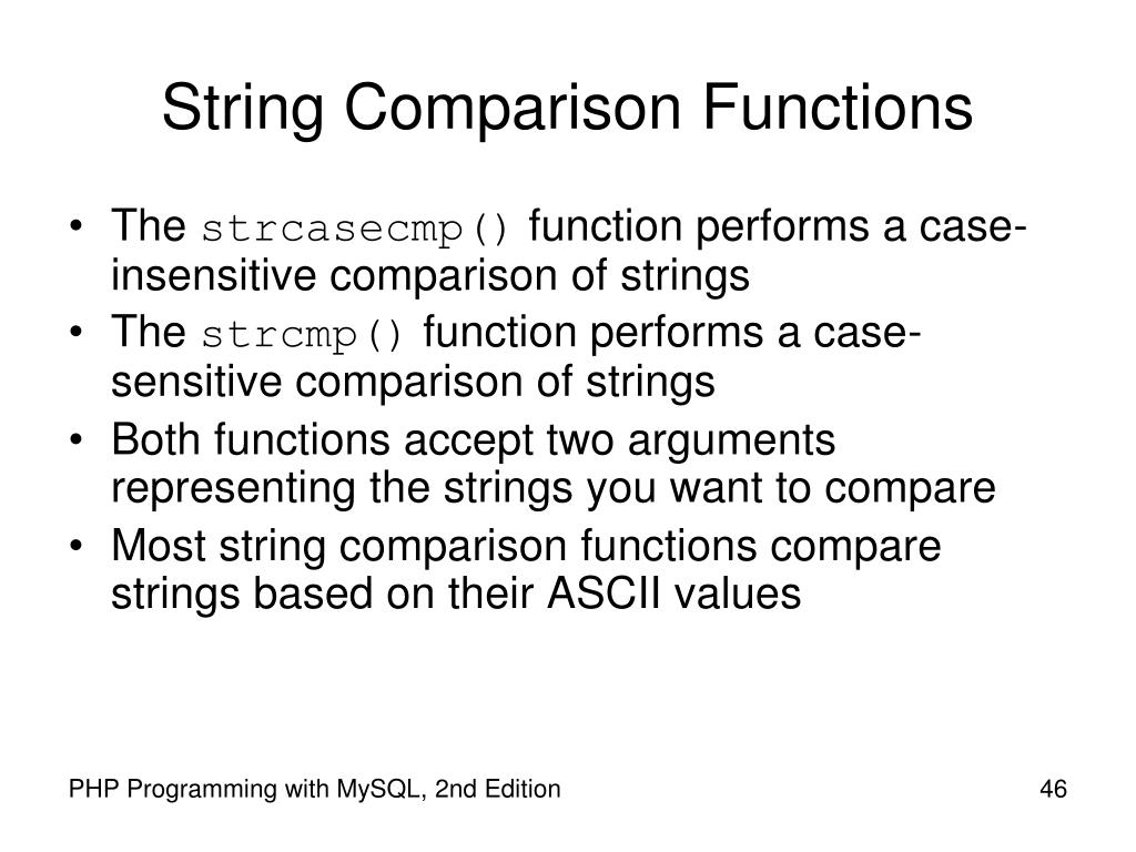 String Comparison Functions