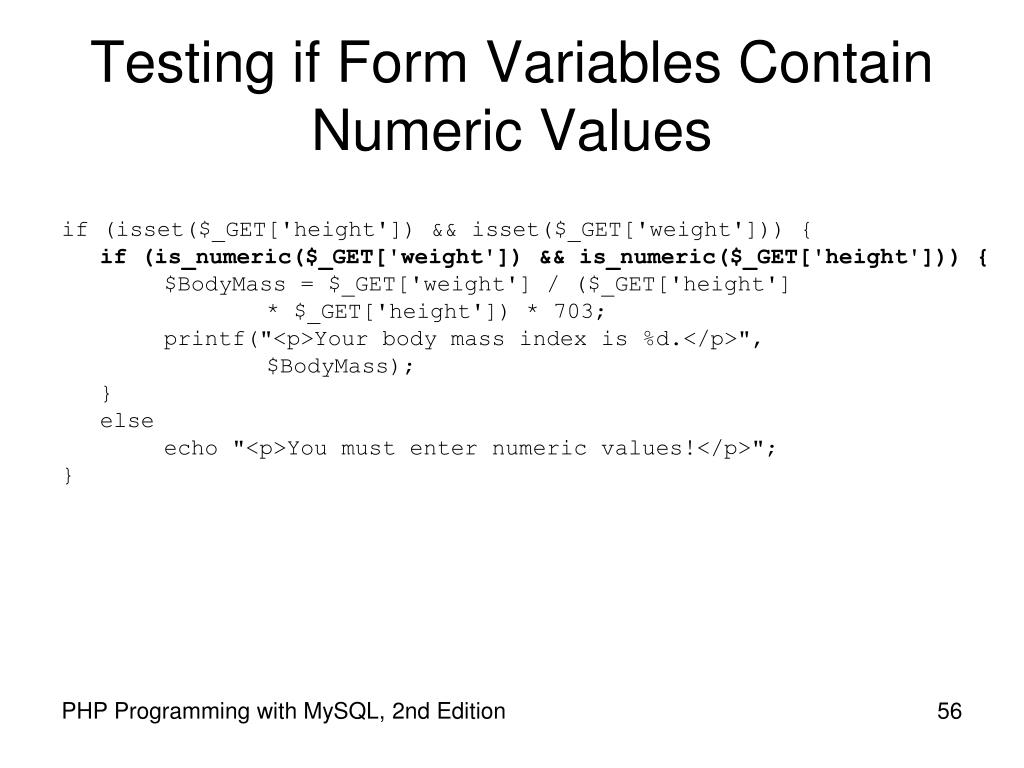Testing if Form Variables Contain Numeric Values