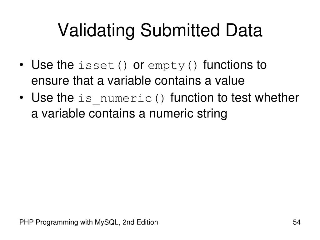 Validating Submitted Data