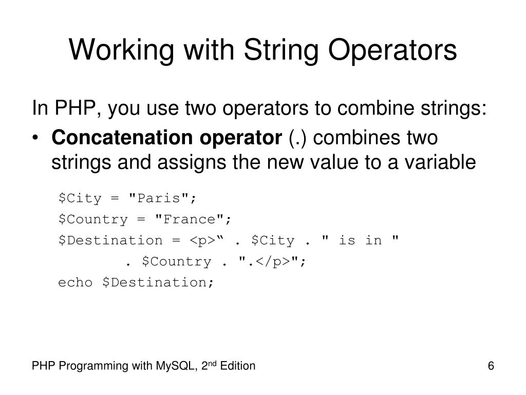 Working with String Operators