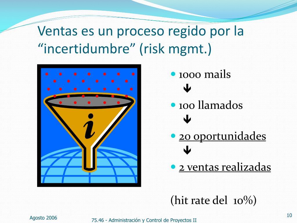 """Ventas es un proceso regido por la """"incertidumbre"""" (risk mgmt.)"""