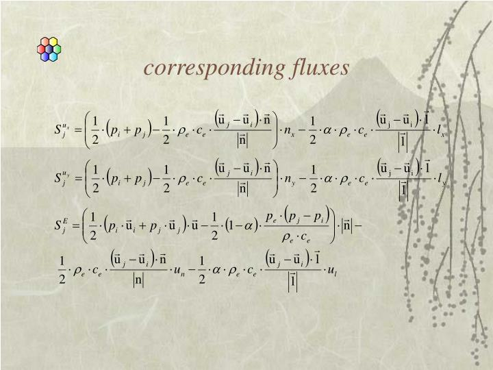 corresponding fluxes