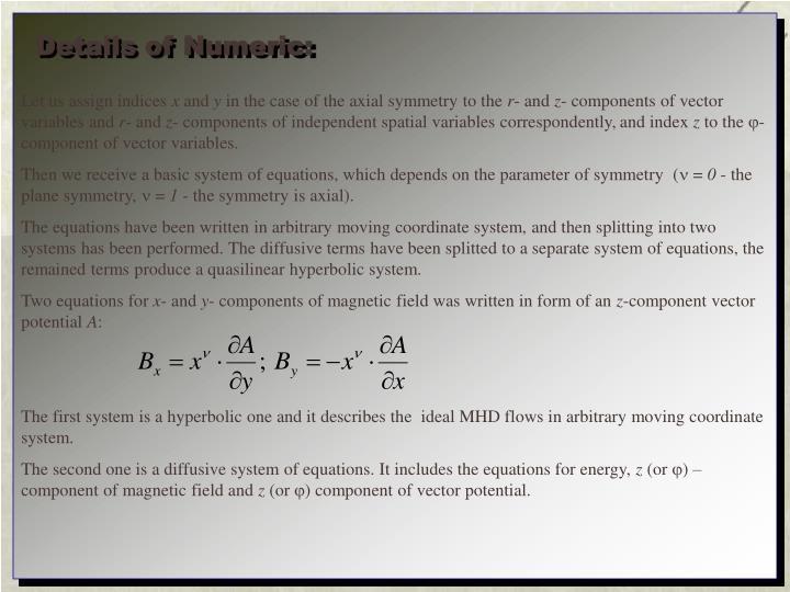 Details of Numeric: