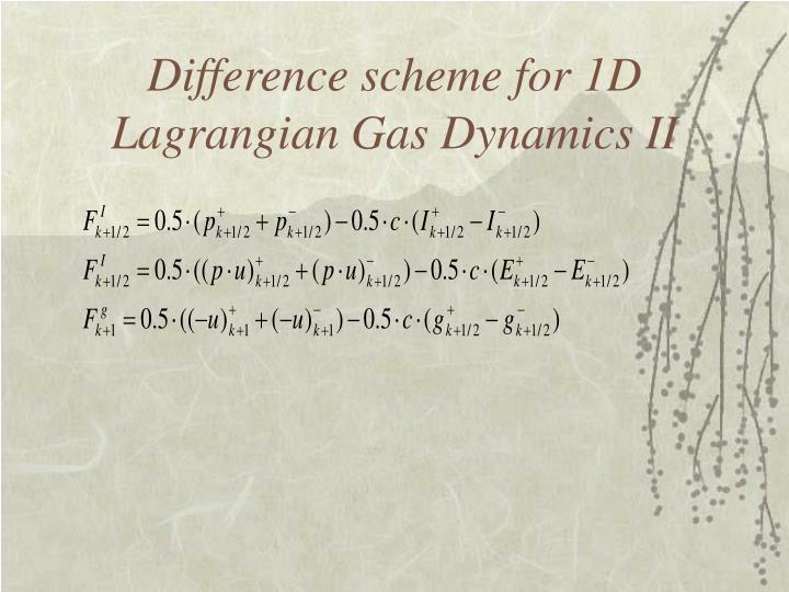 Difference scheme for 1D Lagrangian Gas Dynamics II