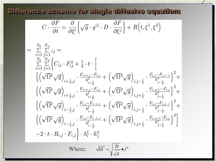 Difference scheme for single diffusive equation: