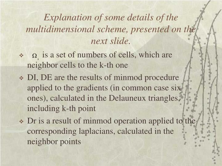 Explanation of some details of the multidimensional scheme, presented on the next slide.