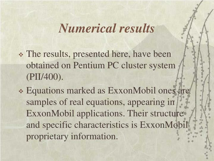 Numerical results