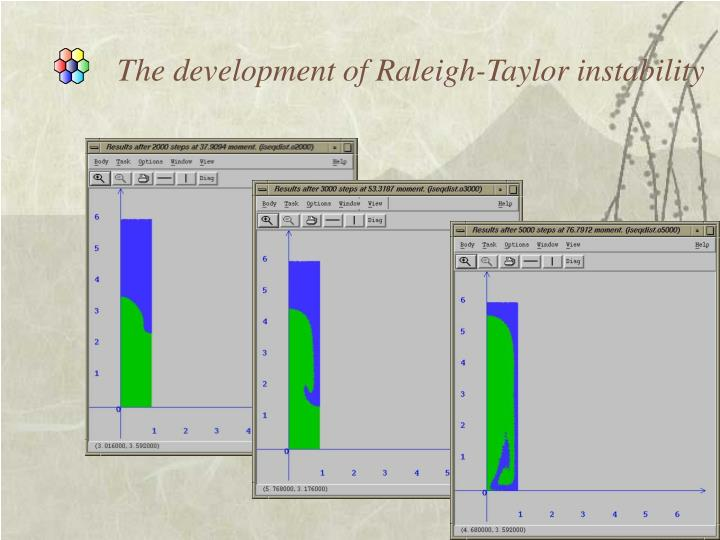 The development of Raleigh-Taylor instability