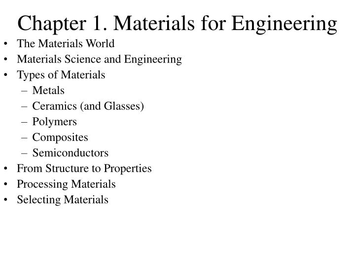 chapter 1 materials for engineering n.