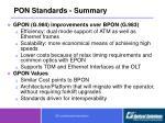 pon standards summary