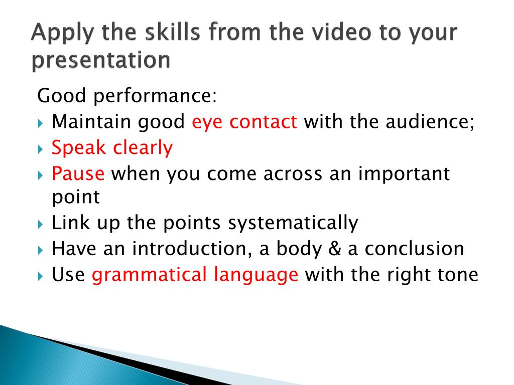 Apply the skills from the video to your presentation