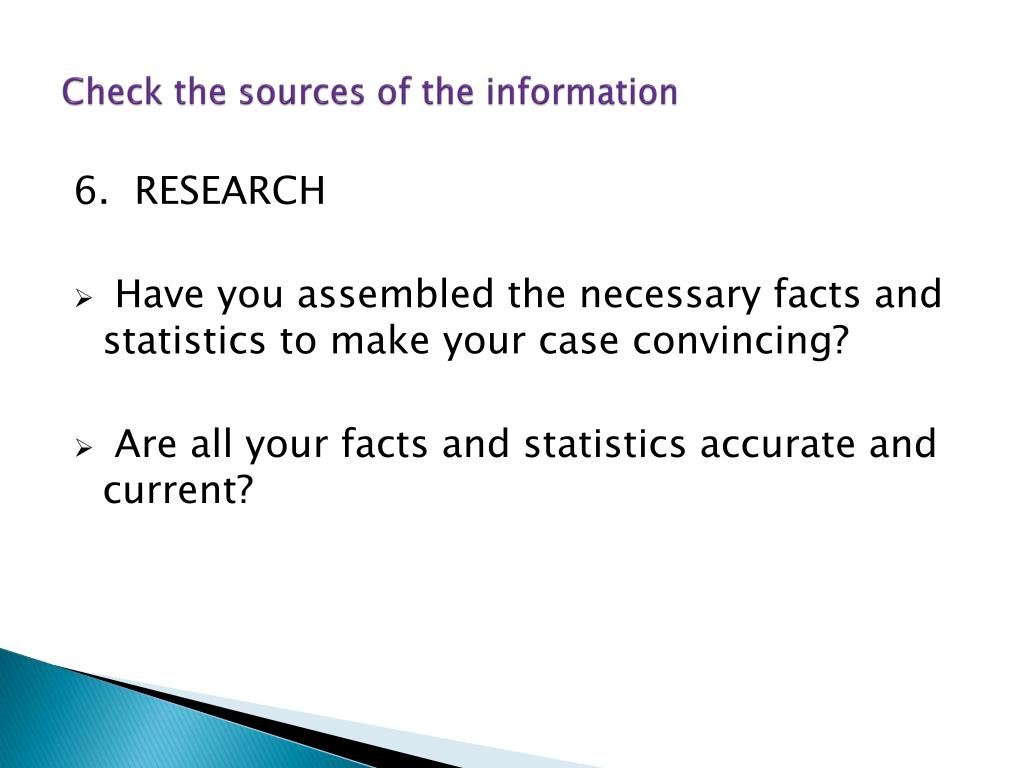 Check the sources of the information