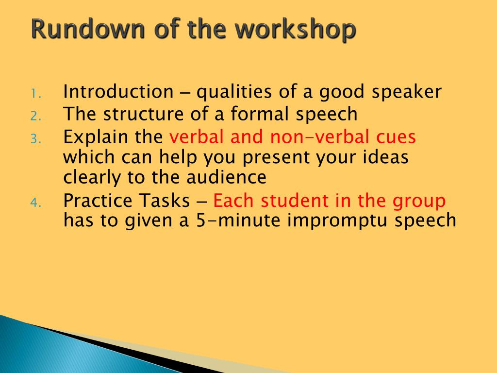 Rundown of the workshop