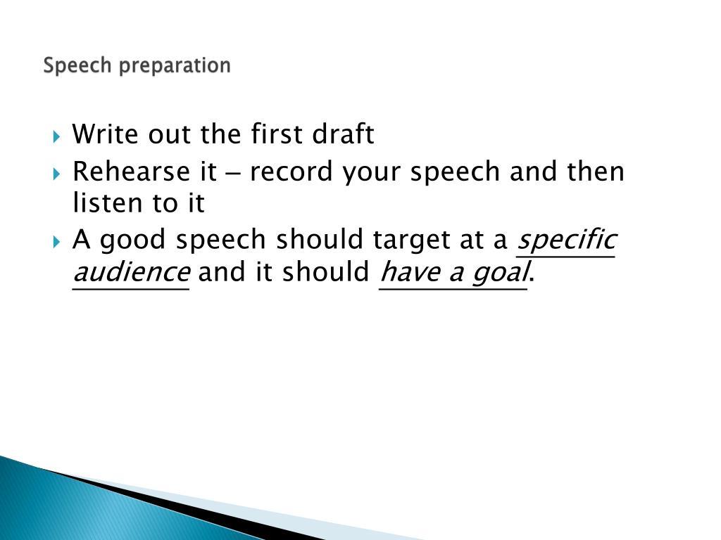 Speech preparation