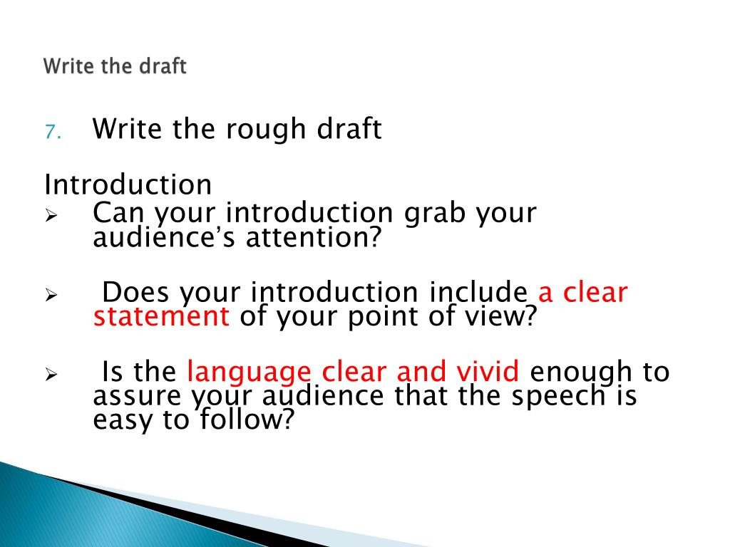 Write the draft