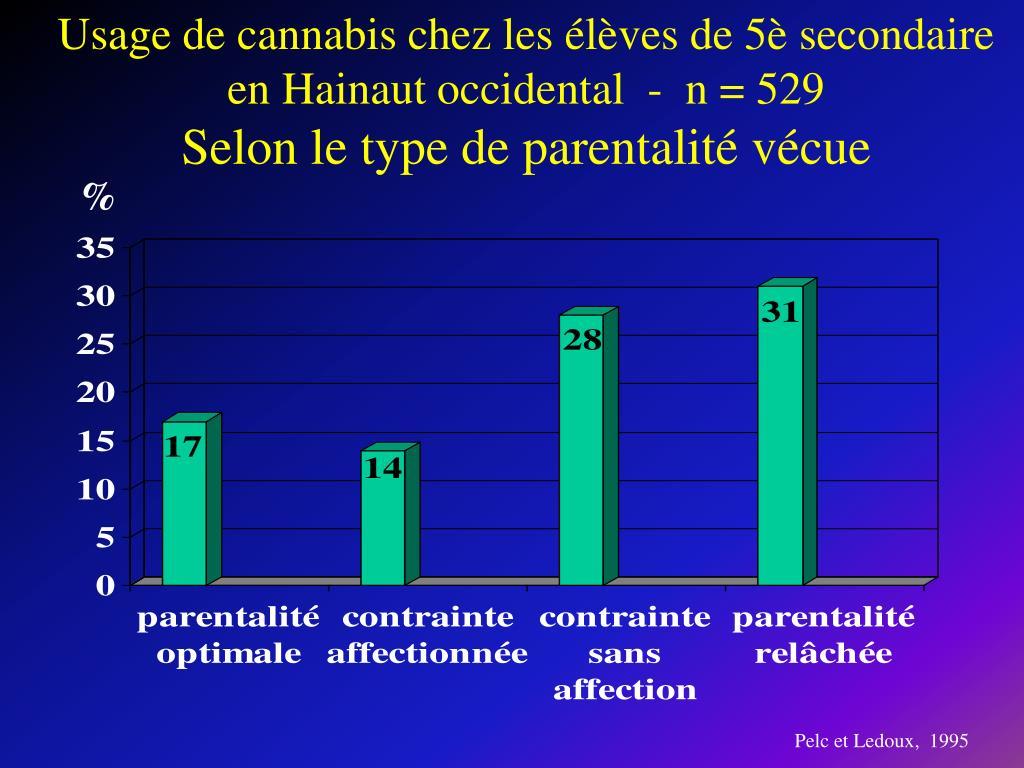 Usage de cannabis chez les élèves de 5è secondaire en Hainaut occidental  -  n = 529