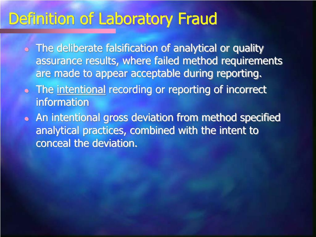 Definition of Laboratory Fraud